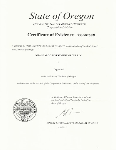 Oregon State Certificate of Existence with Official Seal