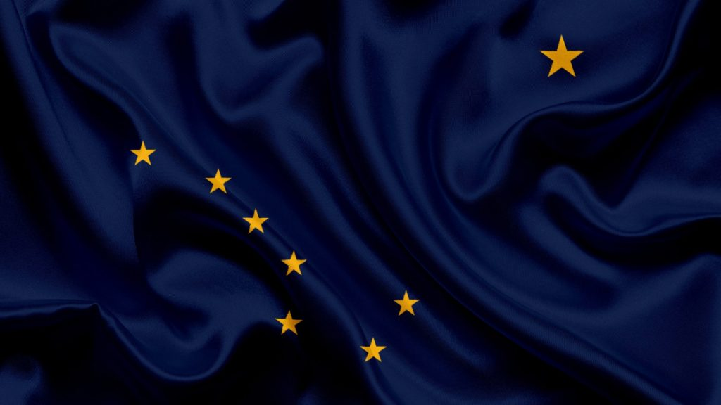 Alaska State Flag with Royal Blue Background and Gold Big Dipper and Polaris