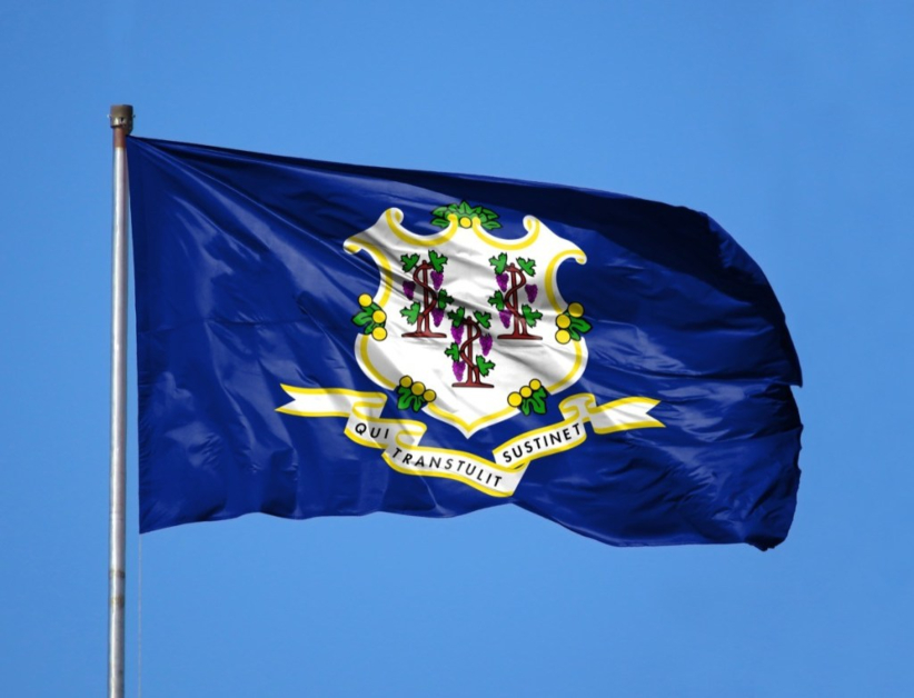 Connecticut State Flag Royal Blue Backdrop with Grapevines and Vegetation on White Shield and Banner