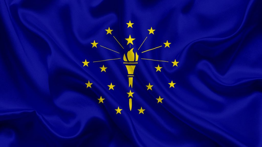 Indiana State Flag Solid Royal Blue with Gold Stars Surround Torch in Center