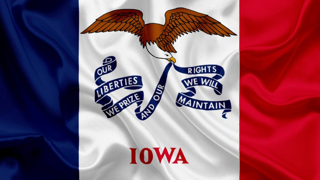 Iowa State Flag Eagle with Banner Red White and Blue