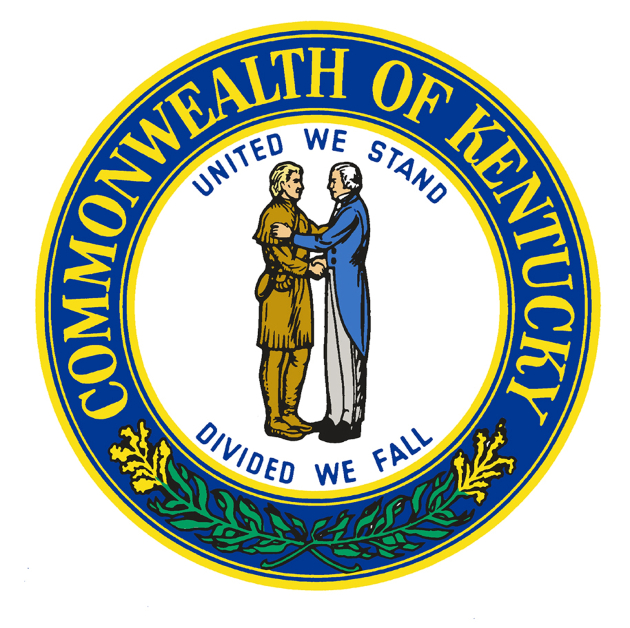 Kentucky State Seal United We Stand Divide We Fall Frontier Man and New Settler Shaking Hands