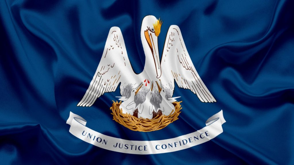 Louisiana State Flag Blue Background with Mother Pelican Feeding Chicks