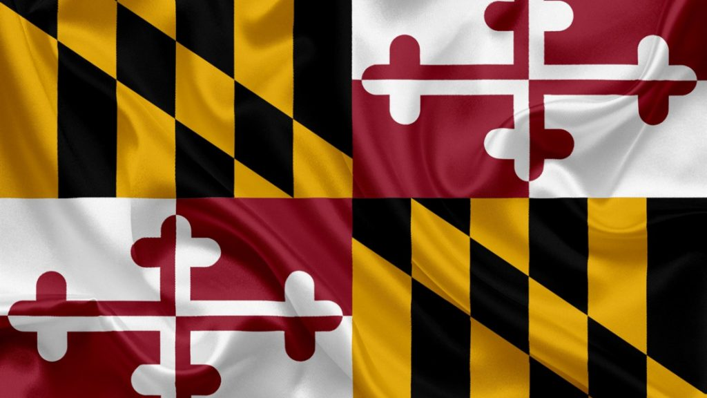 Maryland State Flag Crest with Alternating Yellow and Black Checks and Red and White Crosses
