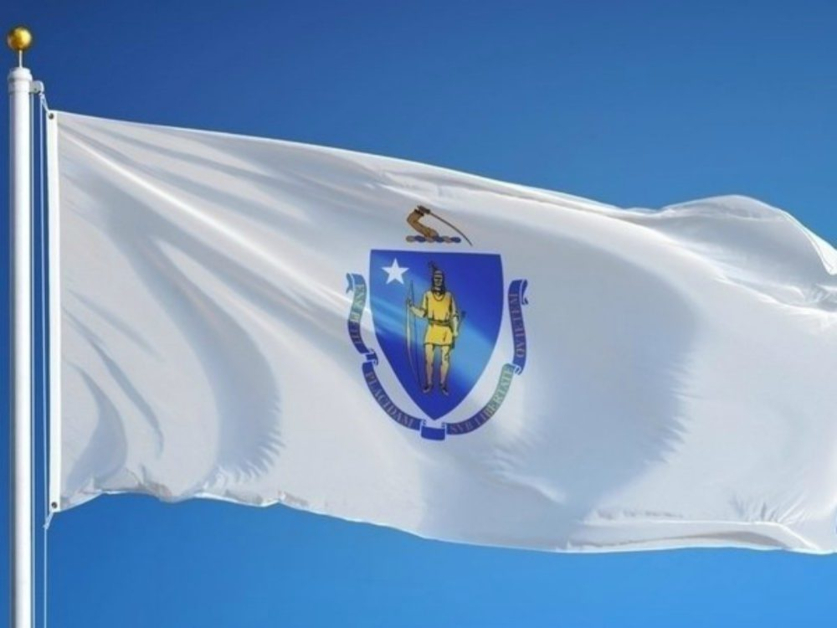 Massachusetts State Flag Solid White with Blue Shield and Banner