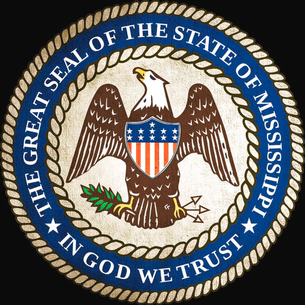Mississippi State Seal In God We Trust Eagle with Stars and Stripes Shield