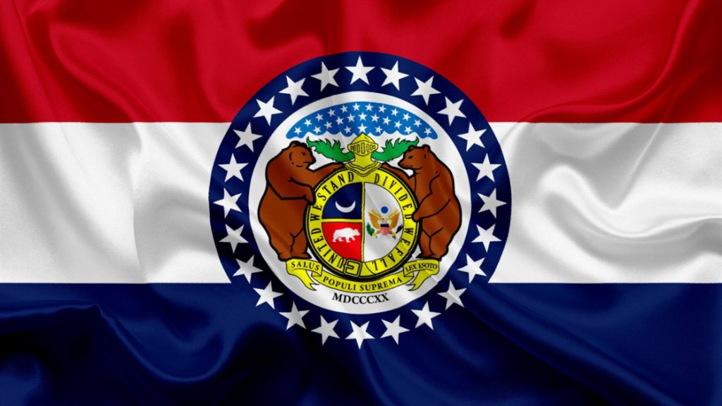 Missouri State Flag Red White and Blue Horizontal Bars with State Seal at Center