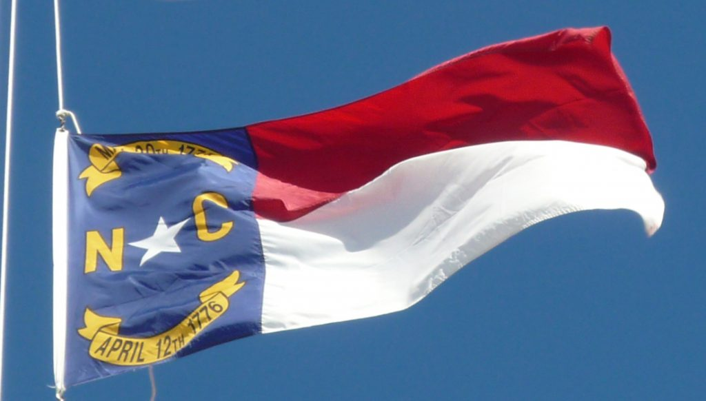 North Carolina State Flag Blue Left Block With Red and White Horizontal Bars