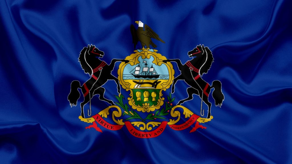Pennsylvania State Flag Gold Center Crest with Two Black Stallions and Eagle