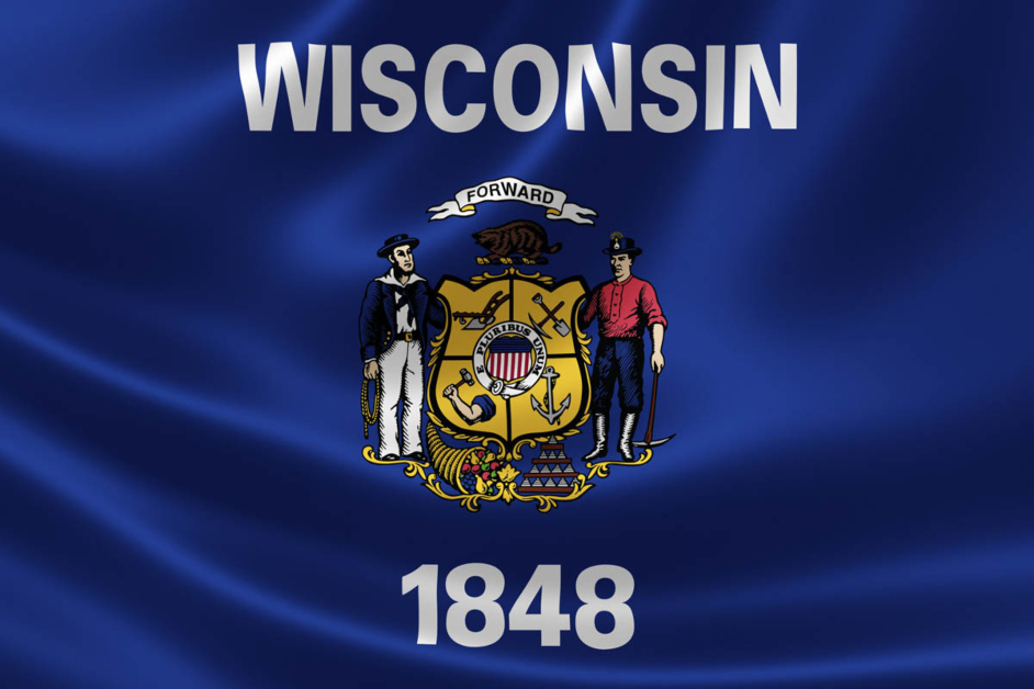Wisconsin State Flag Blue Background with Forward Banner and Shield of Trades