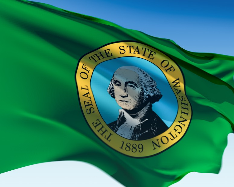 Washington State Flag Green Background with George Washington Seal in Center