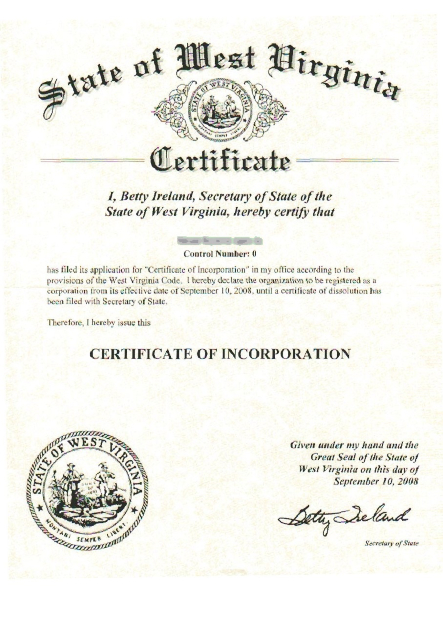 West Virginia Certificate of Incorporation
